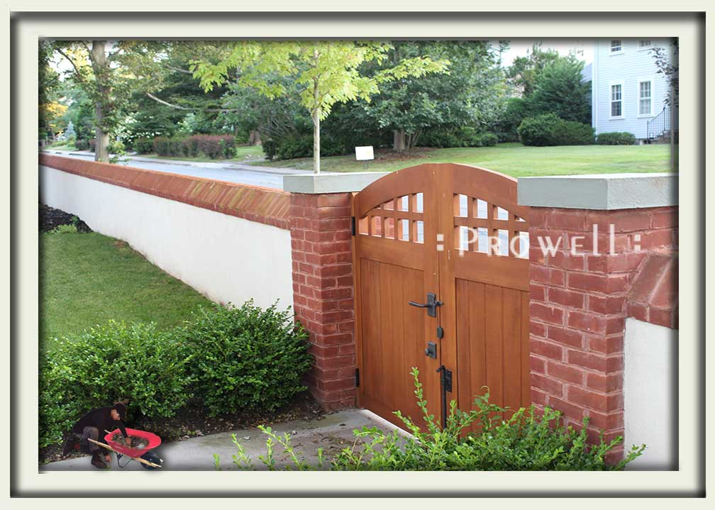 showing double arched wooden gate design in Newport beach, Rhode Island