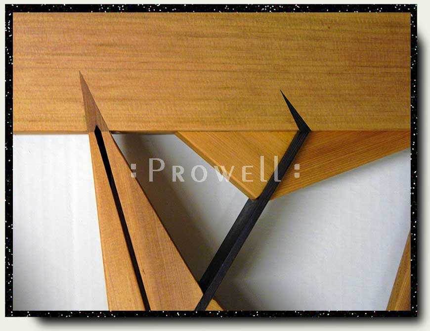 close-up photograph showing the detail woodworking for the abstract gate design #210