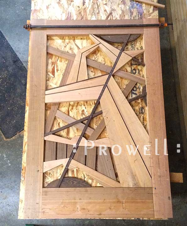 shop in-progress photo of the abstract gate design #210Unbelievable wood gates #210