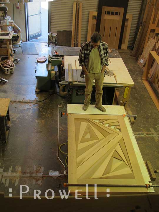 shop progress photograph showing the modern fence gate #212 on the workbench