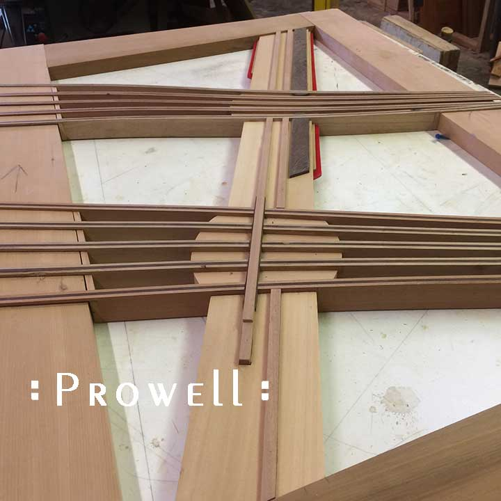 in-progress shop photo showing the diagonal spline of the eccentric gate design #213