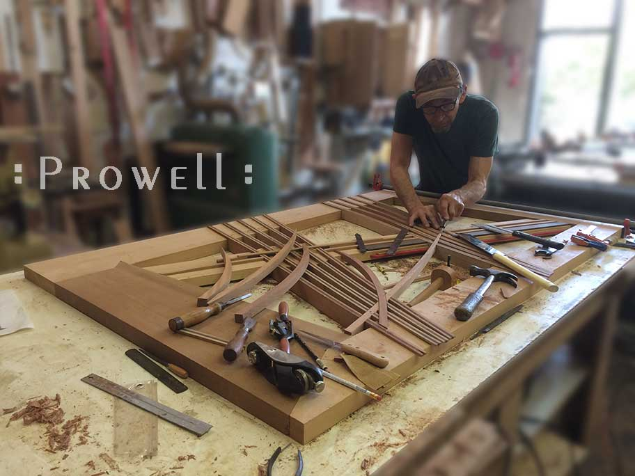 photograph of prowell in the woodshop with the modern garden gate #213