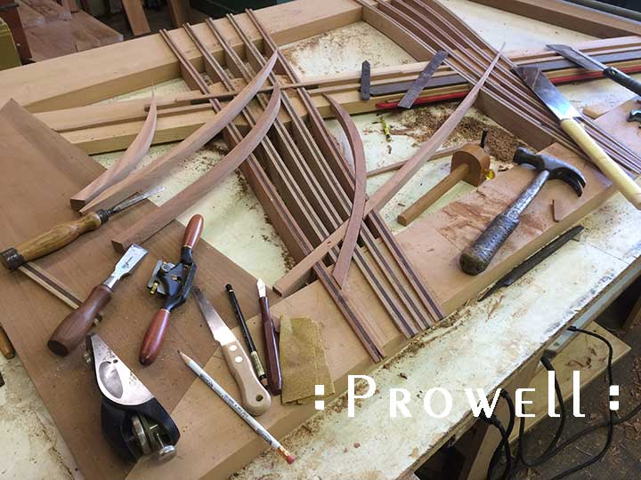 shop in-progress photo showing the abstract gate design 213