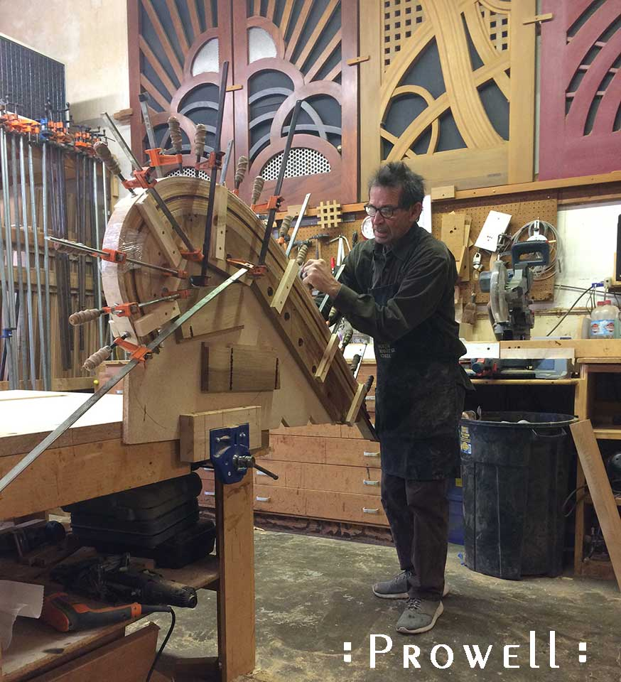 shop progress photograph showing how to create bent laminations for the trompe l'oeil #215
