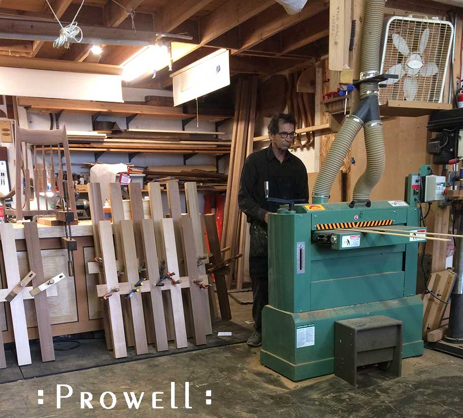 shop progress photograph showing how to create bent lamination strips for the Pinwheel gate design #215
