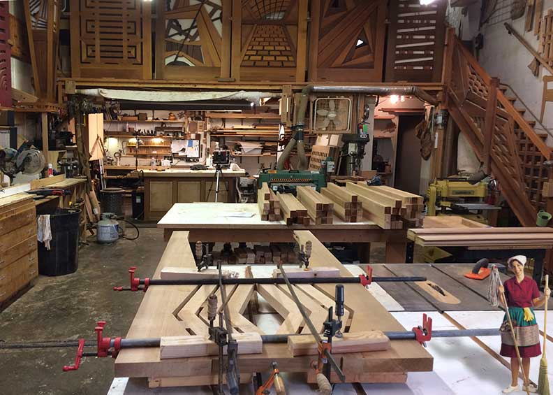 progress photograph in the wood shop showing the joinery of how to build wood gate design #216