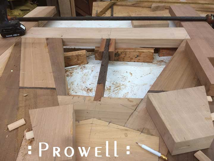 shop progress photograph of the top mast for the artistic wood gate #217