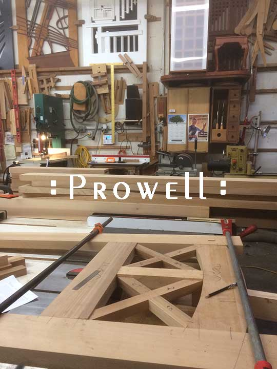 In-progress shop photos of wood gate #23-8bb. prowell woodworks