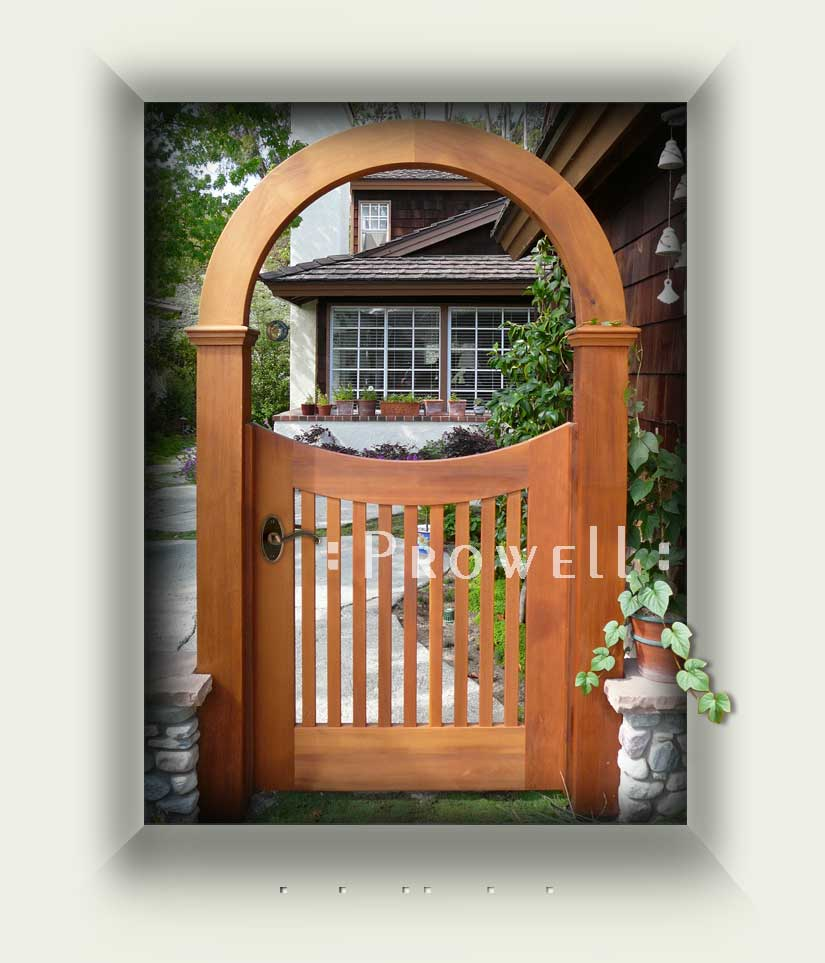 Site photo showing wooden gate #25 and wood arbor #10 in Los Angeles, California