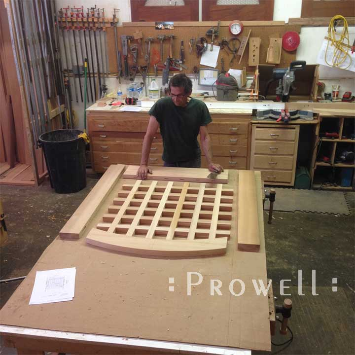 photograph showing Charles Prowell in the shop building the wood garden gate #27