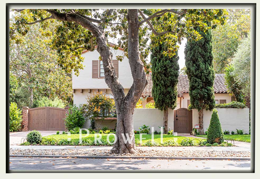 Photo showing the arched gate and driveway gate #29-20a in Palo Alto, CA. prowell