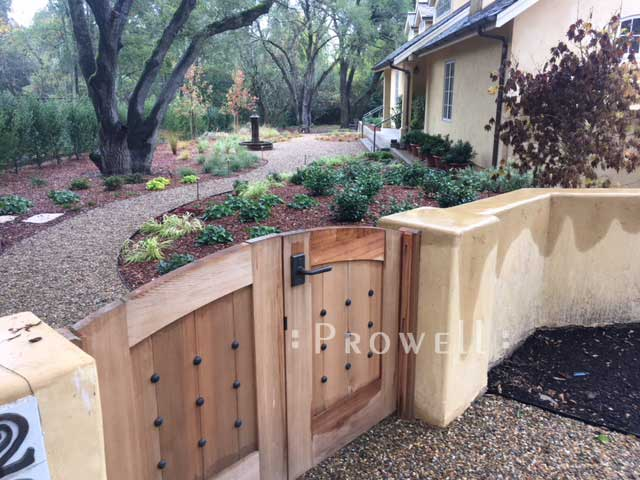 site photograph showing the automated wooden gates #8 with the garden gate #31 in Napa County, California