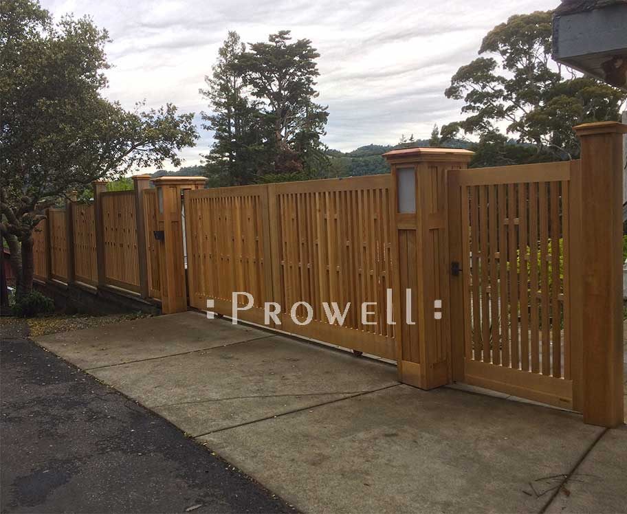 site photograph showing fence gate #32-6 in Mill Valley, California with matching driveway gates and fence.