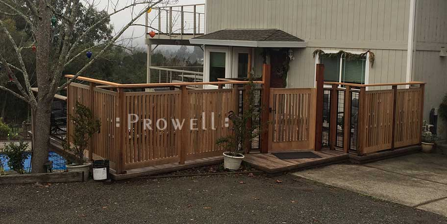 site photo showing picket fence gate #32-9 and matching fence panels in Sonoma County, California