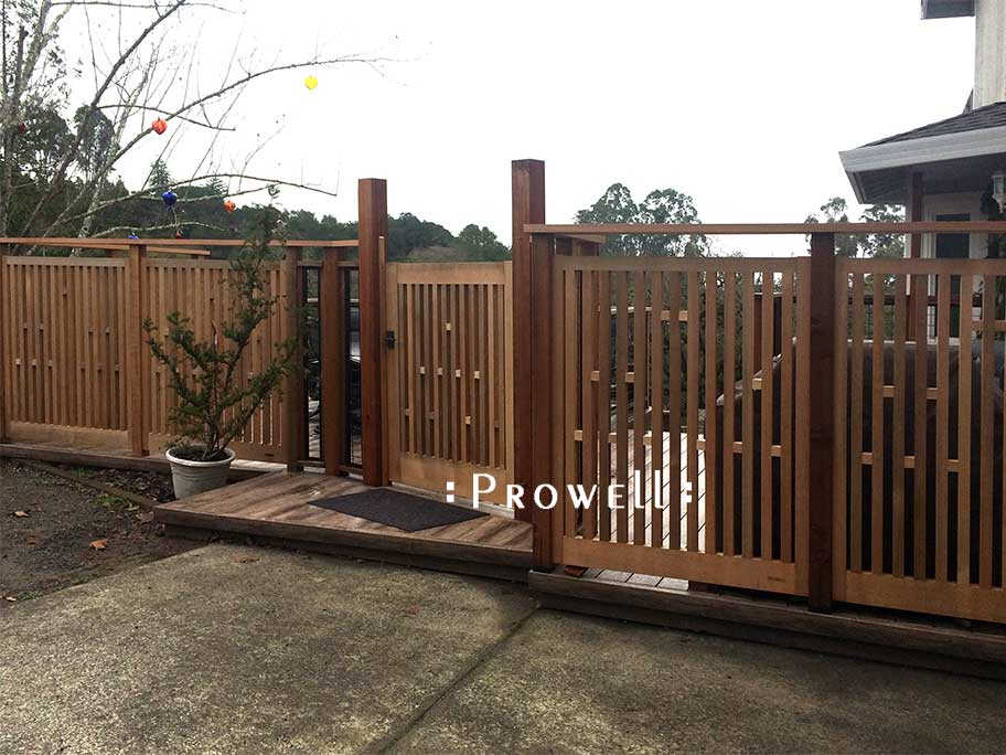 A site photo showing a closer view of picket gate #32-8 in Healdsburg, CA. prowell woodworks