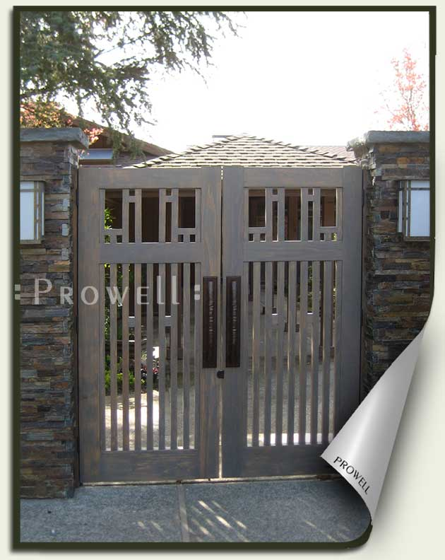 site photograph showing double Craftsman garden gate #38-1 in Sonoma County, CA