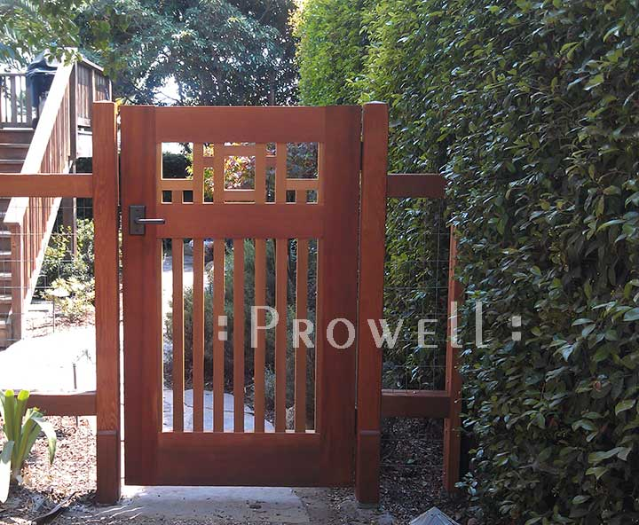 showing the side arts and crafts garden gate #38-3 in santa barbara, california