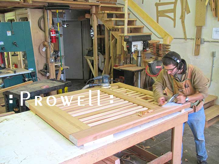 shop photo showing Ben prowell planing the craftsman wood gate #38