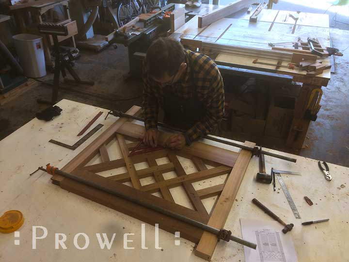 shop photo showing how to build the traditional wood gate #39.