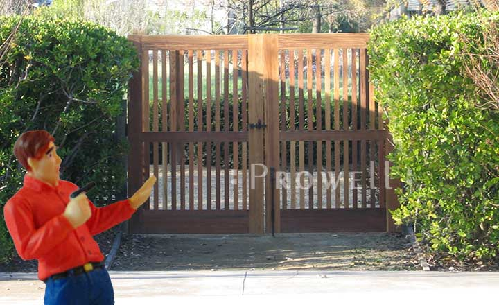 on site photo of double outdoor wood gate #40-2 in Florida
