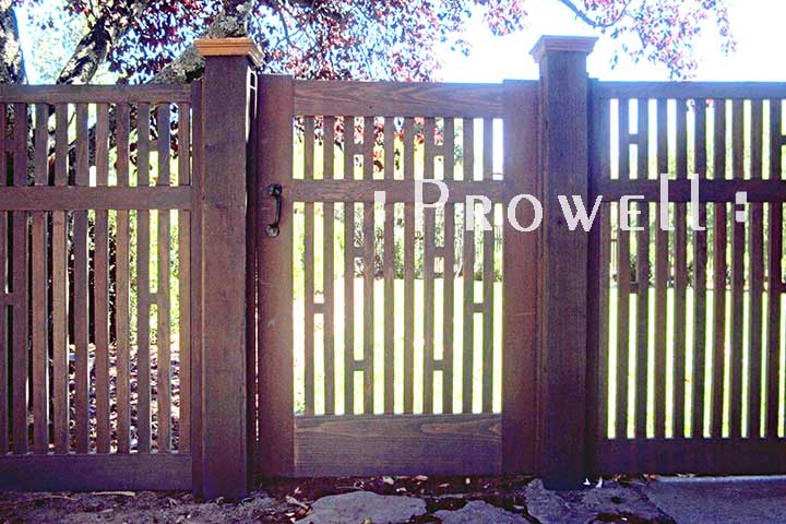 on site photo showing the original outdoor wood gate 40-2 in marin county, california