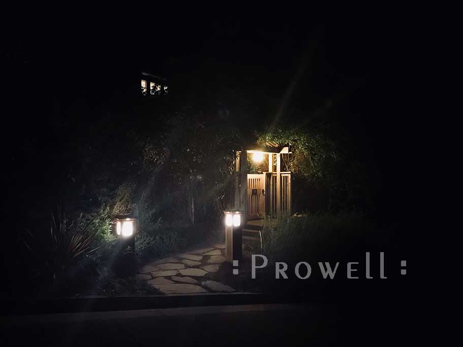 site photo showing two lighted garden columns and the outdoor gate #40-4 in larkspur, calfornia