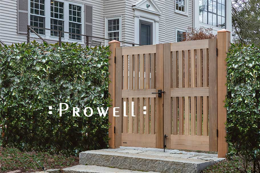 on site photo showing double gates 40-6 in Lincoln, Massachusetts. Prowell woodworks