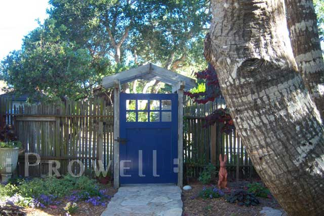 Site photograph showing craftsman wood gate in Carmel, CA