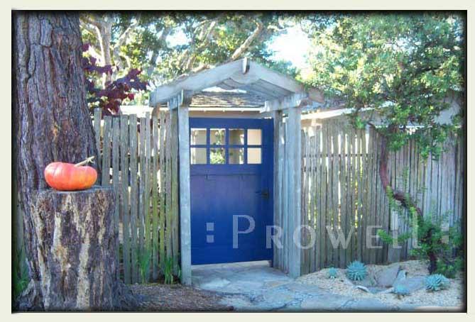 blue garden gate in Carmel, CA