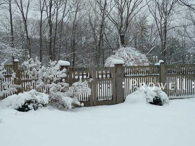 snowy winter site photo showing double gate design #52-6 in Highland, New York.