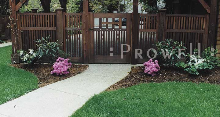 Site photo showing the original wooden gate design #52 in Marin County, california