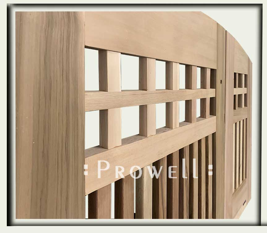 Cropped image showing the detail of curved wood gate for #53-7