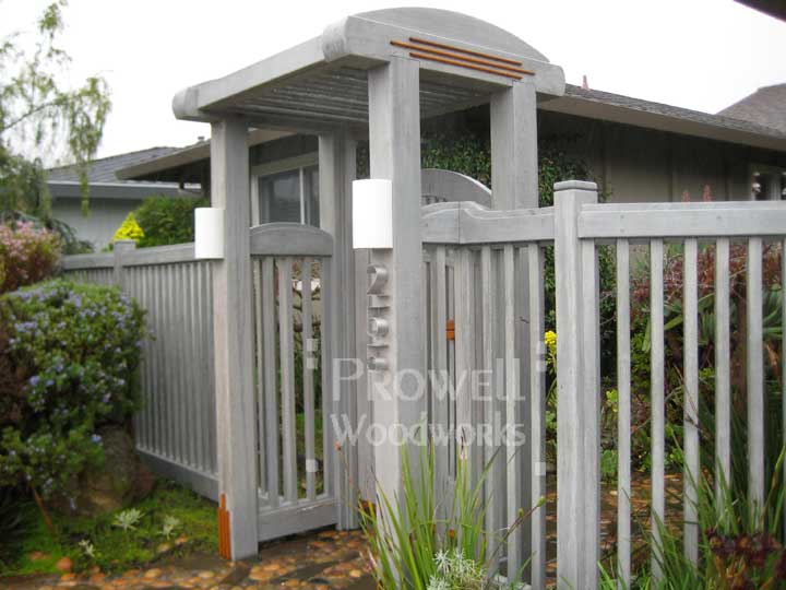 site photo showing wood picket gate #54 in Marin County, California after 20 years!