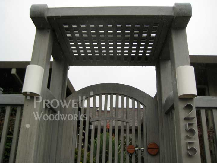site photo showing the picket gate and the wood arbor together, in marin county, california