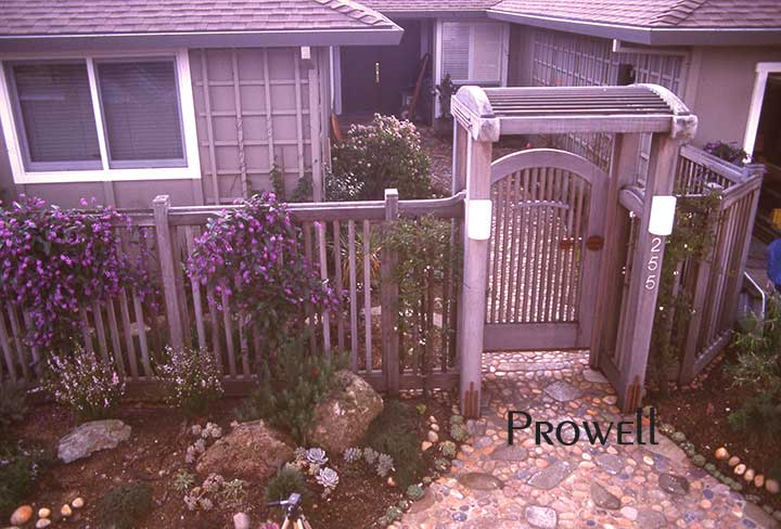 Another photograph taken on site of wood picket gate #54-2 in larkspur, california