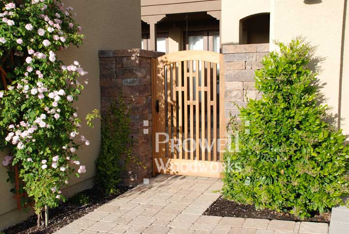 Site photograph showing arched wooden gate designs #57 in san ramon, california