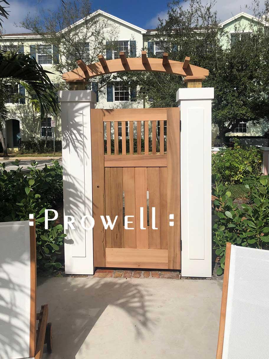 custom wood garden gate #5-17 in West Palm Beam, Florida.