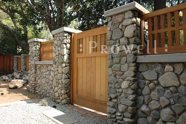 custom wood garden gates and stone walls in Claremont, CA