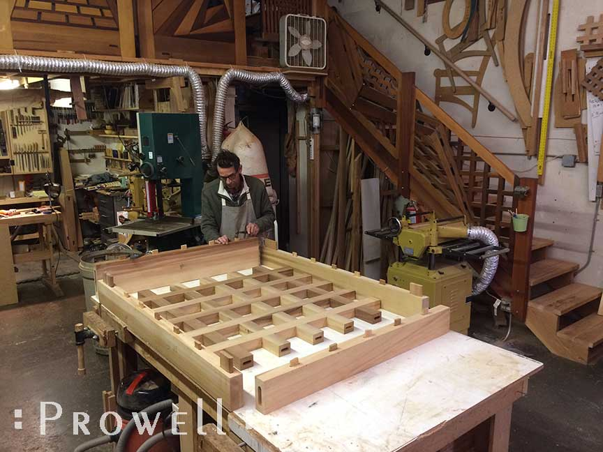 Shop photo of building a Prowell wood garden gate with open grids