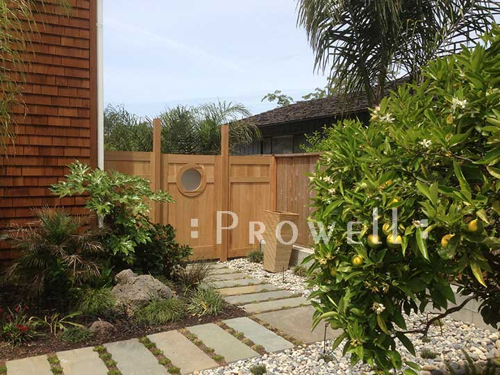 round marina wood gate design #6 in marin county, california