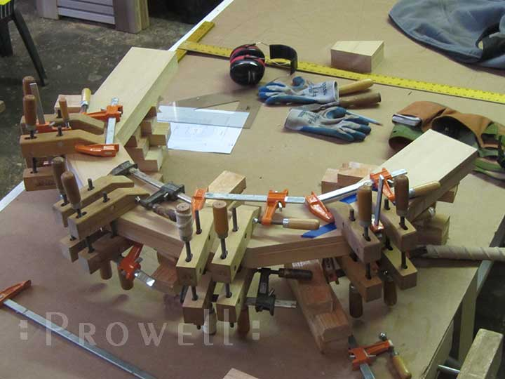 shop photo showing how to create a wood arch for arching gate #78