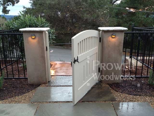 wood garden gates with stucco columns in the san francisco bay area