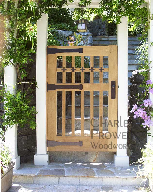 site photograph showing wood gate design 82 in marin county, california