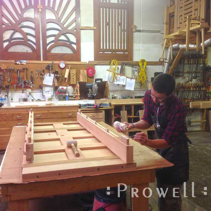 shop photograph showing ben prowell building wooden fence gate #87