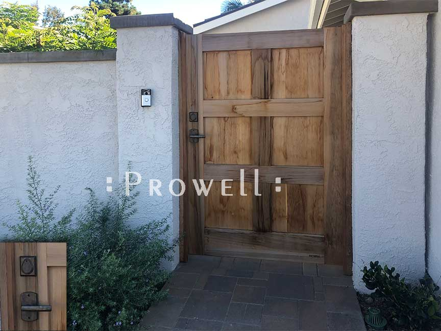 site photo of wooden gate #87-4 between stucco walls in Mission Viejo, California