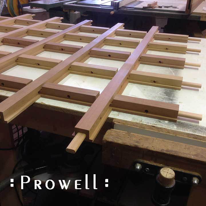 Shop photo showing the assembled grid dividers for gate #87.