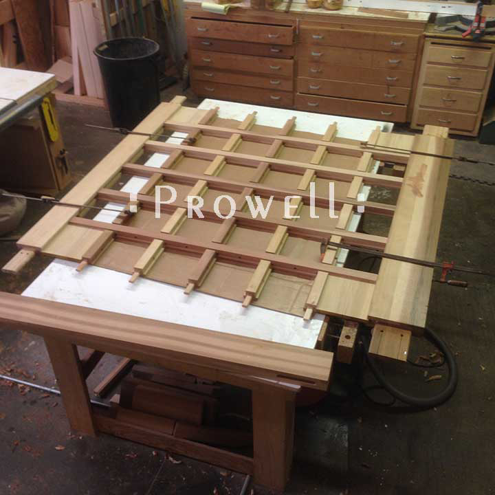 shop photo showing how to join the grids for wood fence gate #87