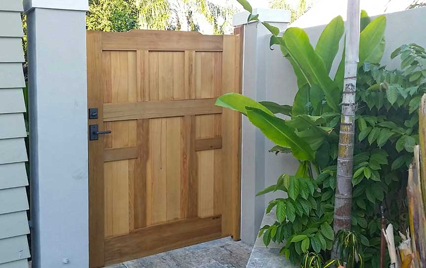 A Site photograph showing arts and crafts gate design #92-1 in Florida