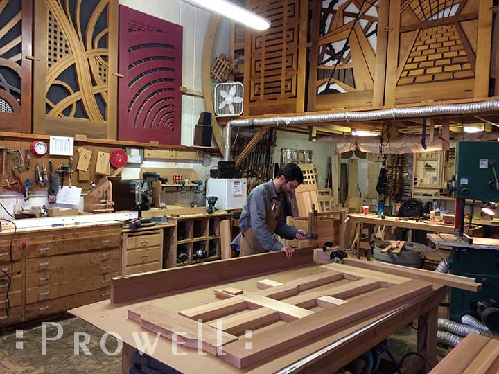 shop photograph showing the assembly process for wood gate #92
