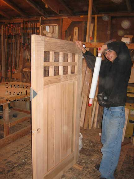 shop photo showing a wooden gate design #93 as completed.